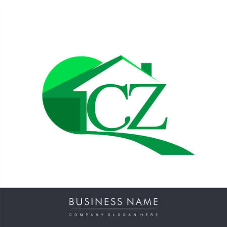 initial logo CZ with house icon, business logo and property developer. Logo