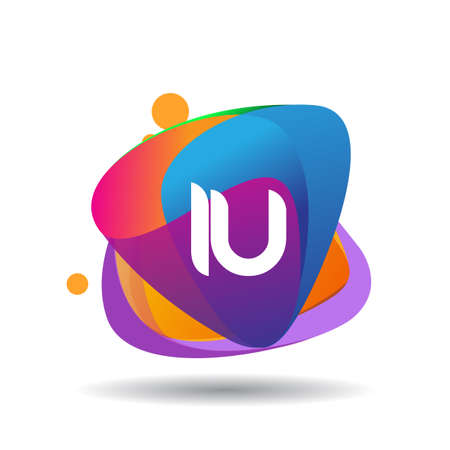 Letter IU logo with colorful splash background, letter combination logo design for creative industry, web, business and company. Ilustração