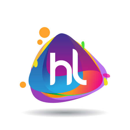 Letter HL logo with colorful splash background, letter combination logo design for creative industry, web, business and company.