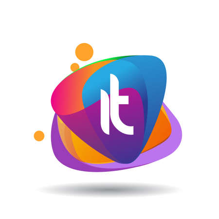 Letter IT logo with colorful splash background, letter combination logo design for creative industry, web, business and company.