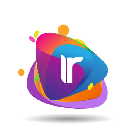 Letter IR logo with colorful splash background, letter combination logo design for creative industry, web, business and company.