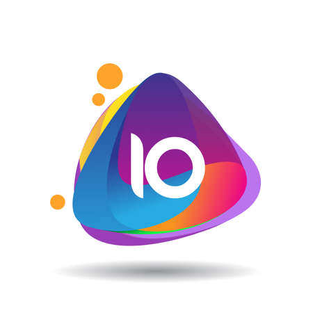 Letter IO logo with colorful splash background, letter combination logo design for creative industry, web, business and company.