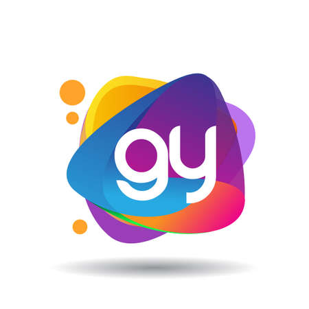 Letter GY logo with colorful splash background, letter combination logo design for creative industry, web, business and company.
