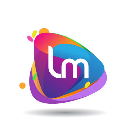 Letter LM logo with colorful splash background, letter combination logo design for creative industry, web, business and company.