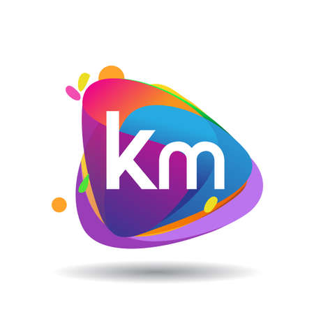 Letter KM logo with colorful splash background, letter combination logo design for creative industry, web, business and company.