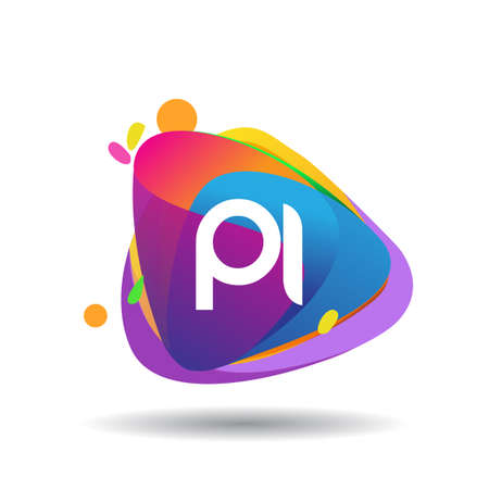 Letter PI logo with colorful splash background, letter combination logo design for creative industry, web, business and company.