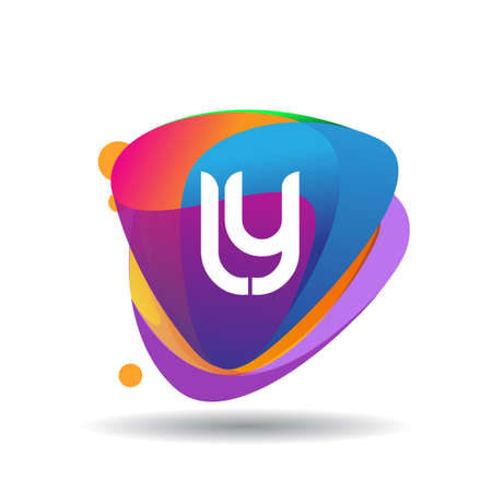 Letter LY logo with colorful splash background, letter combination logo design for creative industry, web, business and company.