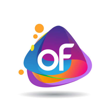 Letter OF logo with colorful splash background, letter combination logo design for creative industry, web, business and company. Logo