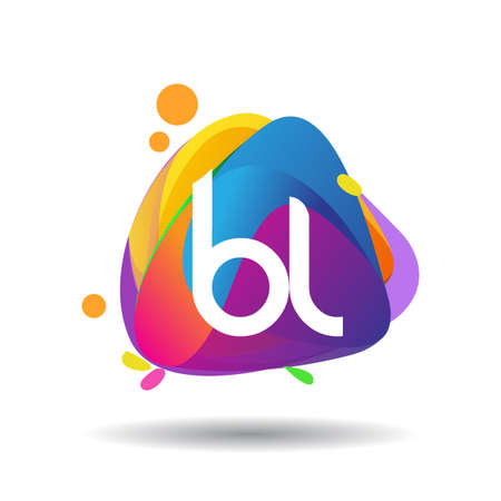 Letter BL logo with colorful splash background, letter combination logo design for creative industry, web, business and company. Logó