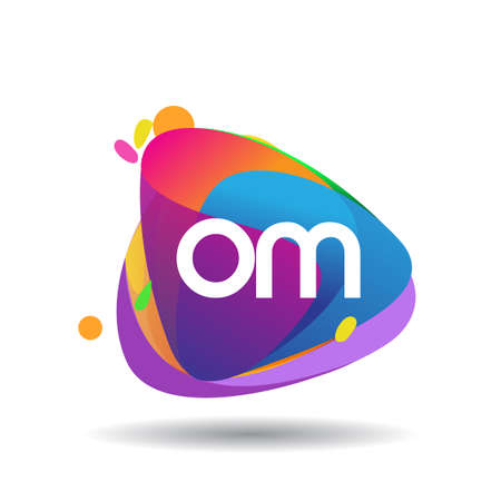 Letter OM logo with colorful splash background, letter combination logo design for creative industry, web, business and company.