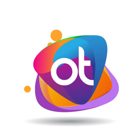 Letter OT logo with colorful splash background, letter combination logo design for creative industry, web, business and company.
