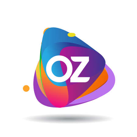Letter OZ logo with colorful splash background, letter combination logo design for creative industry, web, business and company.