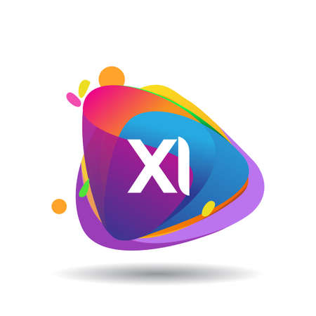 Letter XI logo with colorful splash background, letter combination logo design for creative industry, web, business and company.