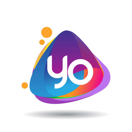 Letter YO logo with colorful splash background, letter combination logo design for creative industry, web, business and company. Logo