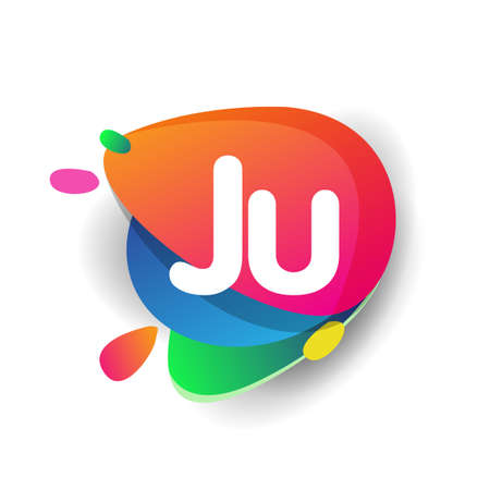 Letter JU logo with colorful splash background, letter combination logo design for creative industry, web, business and company.