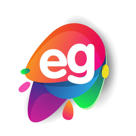 Letter EG logo with colorful splash background, letter combination logo design for creative industry, web, business and company.