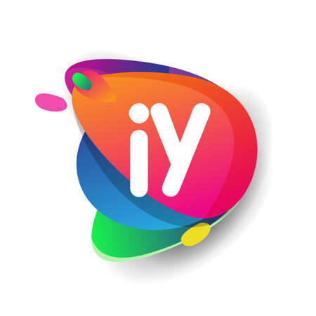 Letter IY logo with colorful splash background, letter combination logo design for creative industry, web, business and company.
