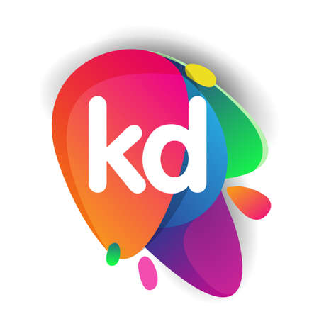 Letter KD logo with colorful splash background, letter combination logo design for creative industry, web, business and company.