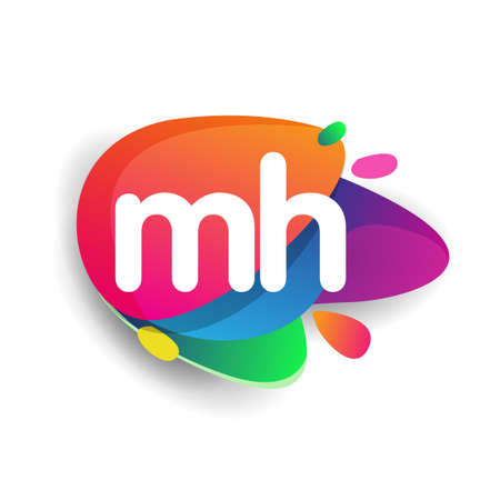 Letter MH logo with colorful splash background, letter combination logo design for creative industry, web, business and company.