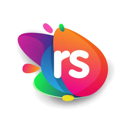 Letter RS logo with colorful splash background, letter combination logo design for creative industry, web, business and company.