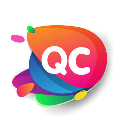 Letter QC logo with colorful splash background, letter combination logo design for creative industry, web, business and company.