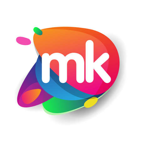 Letter MK logo with colorful splash background, letter combination logo design for creative industry, web, business and company.