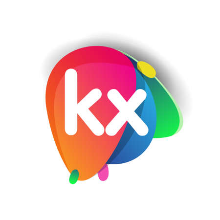 Letter KX logo with colorful splash background, letter combination logo design for creative industry, web, business and company.