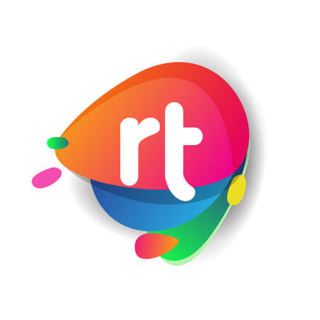 Letter RT logo with colorful splash background, letter combination logo design for creative industry, web, business and company. Logó