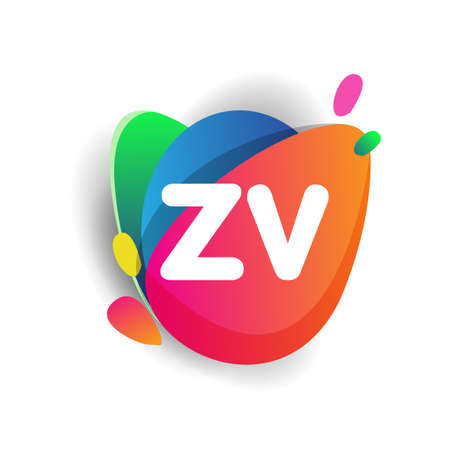 Letter ZV logo with colorful splash background, letter combination logo design for creative industry, web, business and company.