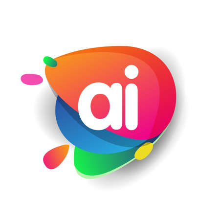 Letter AI logo with colorful splash background, letter combination logo design for creative industry, web, business and company.
