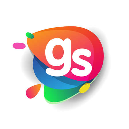 Letter GS logo with colorful splash background, letter combination logo design for creative industry, web, business and company. Illusztráció