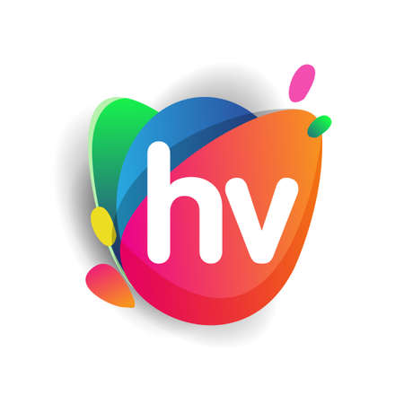 Letter HV logo with colorful splash background, letter combination logo design for creative industry, web, business and company.