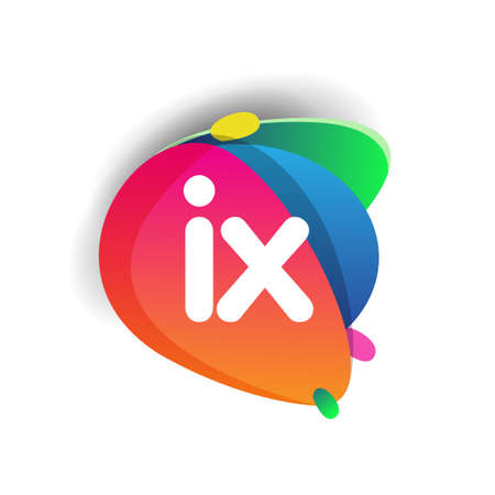 Letter IX logo with colorful splash background, letter combination logo design for creative industry, web, business and company.