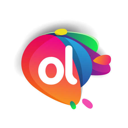 Letter OL logo with colorful splash background, letter combination logo design for creative industry, web, business and company.