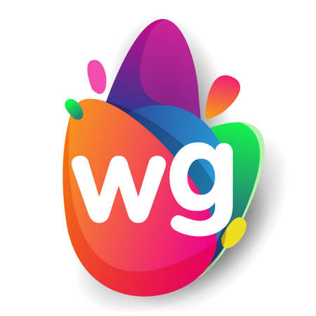 Letter WG logo with colorful splash background, letter combination logo design for creative industry, web, business and company.