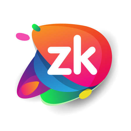 Letter ZK logo with colorful splash background, letter combination logo design for creative industry, web, business and company.
