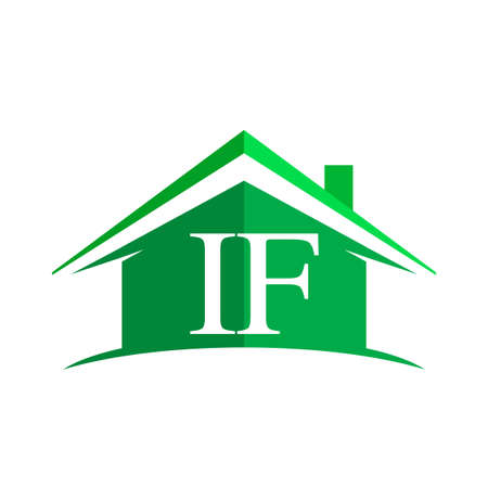 initial logo IF with house icon and green color, business logo and property developer