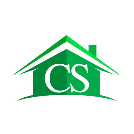initial logo CS with house icon and green color, business logo and property developer