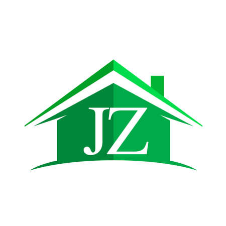 initial logo JZ with house icon and green color, business logo and property developer Logos