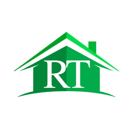 initial logo RT with house icon and green color, business logo and property developer