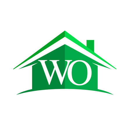 initial logo WO with house icon and green color, business logo and property developer