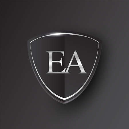 Initial logo letter EA with shield Icon silver color isolated on black background, logotype design for company identity. Illusztráció