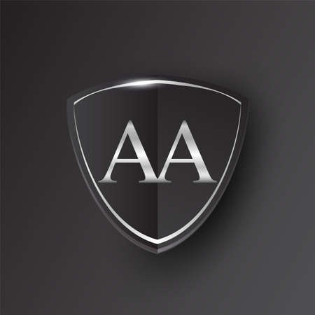 Initial logo letter AA with shield Icon silver color isolated on black background, logotype design for company identity. Illusztráció