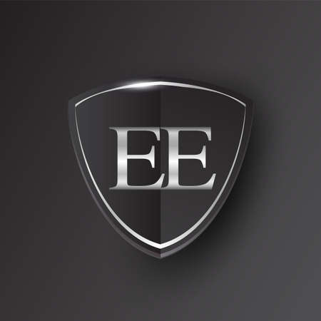 Initial logo letter EE with shield Icon silver color isolated on black background, logotype design for company identity.