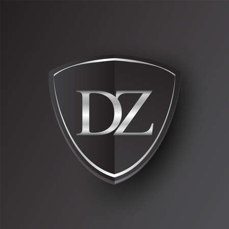 Initial logo letter DZ with shield Icon silver color isolated on black background, logotype design for company identity.