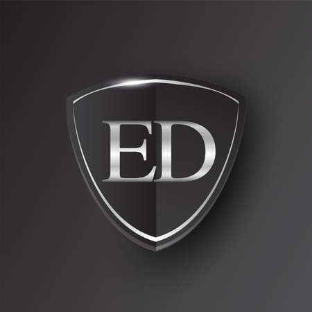 Initial logo letter ED with shield Icon silver color isolated on black background, logotype design for company identity.