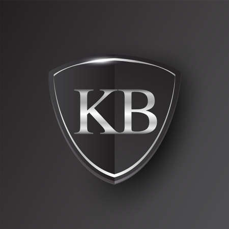 Initial logo letter KB with shield Icon silver color isolated on black background, logotype design for company identity.