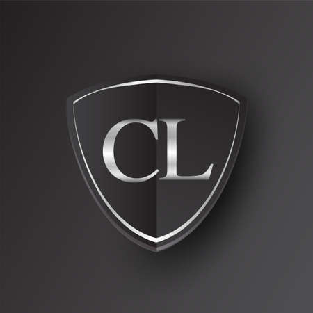 Initial logo letter CL with shield Icon silver color isolated on black background, logotype design for company identity.