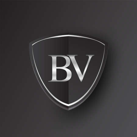 Initial logo letter BV with shield Icon silver color isolated on black background, logotype design for company identity.