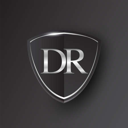 Initial logo letter DR with shield Icon silver color isolated on black background, logotype design for company identity.